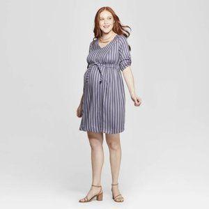 Maternity Striped 3/4 Sleeve Tie Waist Shirtdress